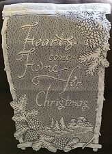 "Heritage Lace White ""Hearts come home for Christmas"" Wall Hanging  #407 Nice"""