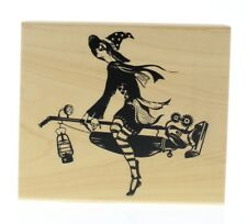 Inkadinkado Halloween Witch on a Vacuum Cleaner Wooden Rubber Stamp