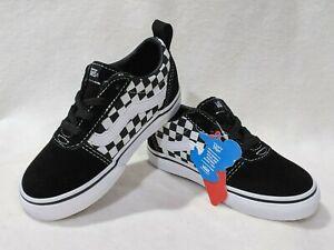 Vans Toddler Boy's Ward Checkered Black/White Slip On Skate Shoes-Sz 6/7/8/9/10