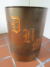 "Antique Copper Waste Paper Basket Arts & Crafts Trash Can Signed 13"" tall USA"