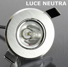 F025 faretto DOWNLIGH incasso LED ORIENTABILE 220V 1W luce NEUTRA+ALIMENTATORE