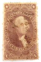 .1862 - 1871 US $2.50 INLAND EXCHANGE REVENUE STAMP. HANDWRITTEN CANCEL.