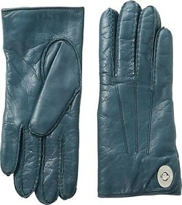 COACH 253570 Womens Leather Turnlock Gloves Moroccan Blue Size 6,5
