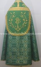 Metallic Green Marian Blue Cope & Stole Set with IHS embroidery,capa pluvial,NEW