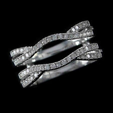 Solitaire Engagement Ring Enhancer 0.35ct Diamond 14K White Gold Over Guard Wrap