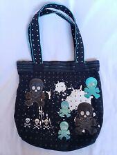 Loungefly Concealed Carry Black Purse Tote Bag Metallic Skull Star Shoulder Blue