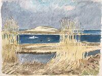 Karl Adser 1912-1995 Fjand Am Schilfufer Fjord Schwäne Enten Seevögel Natur