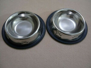 Set of 2 NON SKID STAINLESS STEEL Food Water Bowl Dish Dog Cat Pet NO TIP 6 Oz