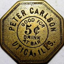 1890 Utica Illinois Good For Token Peter Carlson