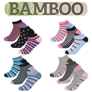 6 3 Pairs Womens Designed Bamboo Trainer Socks Ladies Sports Gym Ankle Liner 4-8
