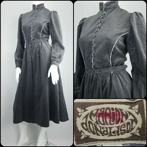 Vintage 70s Marion Donaldson Velvet Dress Prairie Victorian Edwardian Size 10-12