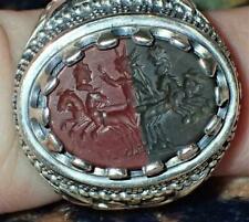 28.5mm New 925 Silver Ring with Ancient Roman Jasper Intaglio, #S1572