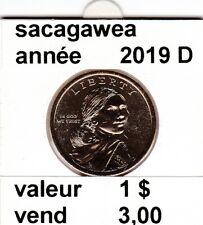 pieces de 1 $ sacagawea  2019 D