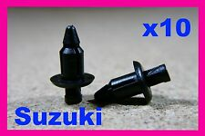 10 Suzuki motor bike cycle fairing panel fascia trim fastener rivet clips pin