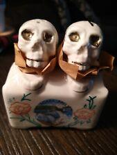 Vtg Porcelain Skull Nodder Salt Pepper Shakers Japan Niagara Falls Halloween