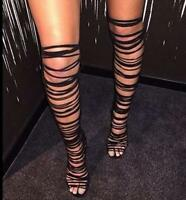 New Womens Knee High Heel Gladiator Sandals Strappy Lady Roman Party Shoes Boots