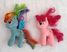 "2 My Little Ponies Pony Plush Pink Blue Sparkle Pinkie Pie& Rainbow Dash 7"""