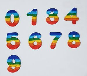Letter / Number RAINBOW Iron On/ Sew Cloth Patch Appliqué 0-9
