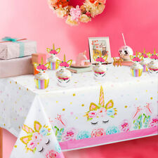 Ourwarm Unicorn Plastic Tablecloth Table CoverMagical Unicorn Theme Party Supply