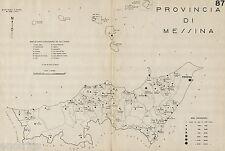 Provincia Messina: Comuni nel 1938.Eolie.Carta Topografica.Anno XVI Era Fascista