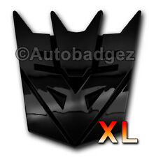 """2 - NEW Transformers DECEPTICON badges emblems GLOSS BLACK (3"""" and 5"""")"""