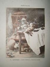 Gravure 19° 1899 couleur Peinture R. Chrétien: coin d'office nature morte
