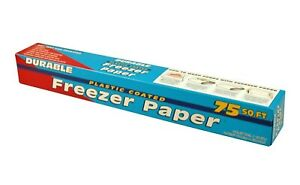 DURABLE Freezer Paper Plastic Coated Multiuse Food Arts Crafts 18x75 Sq Ft Roll