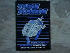 Transformers VINTAGE G1 1988 Skyhopper Micromaster Hasbro Instruction Book C-6!!