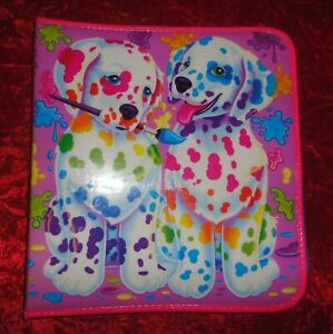 Vintage LISA FRANK SPOTTY & DOTTY Paint Brush 3 Ring Puffy Zipper Binder Mirror