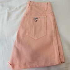 women's Vintage GUESS jean shorts size 29 peach 80's 90's Triangle logo EUC
