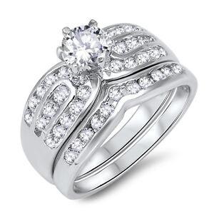 Brilliant Simulate Sapphire Engagement Wedding CZ Silver Ring Set 2.17 Ctw