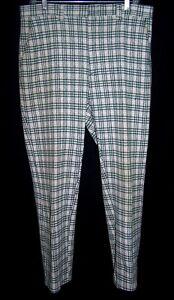 VTG GREEN/GRAY PLAID PANTS Size 36 Men's Polyester Flat-Front 1970's Disco Golf