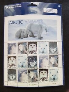 United States Stamps sheet, MNH. Arctic animals,1999:Hare,Fox,Snowy owl,Wolf