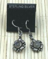 Vintage Sterling Earrings Silver 925 Labradorite Bali gemstone Pierced Drop