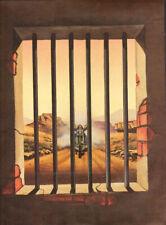 """1988 Vintage David Mann """"Close Call"""" 11'' x 14'' Matted Biker Art Poster"""