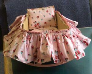 Adorable  Vintage Cardboard Doll Bed Plastic Rockers Skirt, Mattress & Pillow