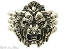 Gothic Hip Hop Antiqued Silver Lion Pendant Bracelet with Crystal Bling