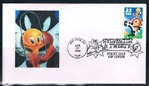 1998 Sylvester & Tweety First Day Cover FDC Sc 3204 Bill Norton Cachet Swing