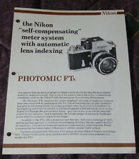 Nikon F page from sales manual - Photomic FTn