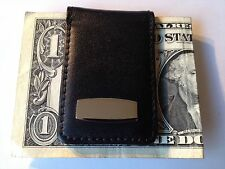 Leather Money Clip with Magnetic Clasp, Black, New