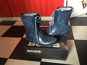 WOMENS SIZE 9 US 40 EUR BOGS RAIN BOOTS BATIK BLUE WORN ONCE ?