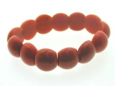 """Art Deco Coral Celluloid Cabochon Beaded Bracelet 2 Holed Beads 7"""" 17.5 mm wide"""