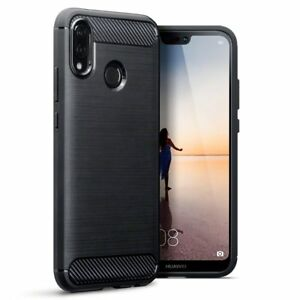 For Huawei P20 Lite Carbon Fibre Soft Protective Shockproof Case Cover Black