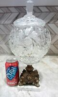Huge Vintage Crystal Clear Cut Candy Dish Compote w Lid Brass Footed Marble Base