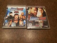 LOT of 2 WWE SmackDown vs. Raw 2008 2009 Featuring ECW PS3  *Rough Cases*