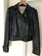 River Island Black Genuine 100% Leather Ladies Biker Jacket Size 16 really soft