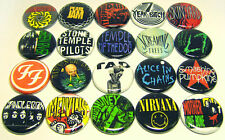 "20 GRUNGE ROCK Bands ONE Inch Buttons 1"" Pins Seattle FF Nirvana Soundgarden AIC"