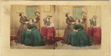Scène de genre Intérieur salon Mode Deco Photo Stereo Vintage Albumine ca 1860