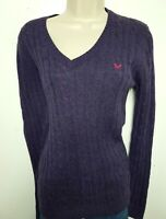 CREW CLOTHING CABLE KNIT WOMENS JUMPER SWEATER UK 10 PURPLE WOOL BLEND 674