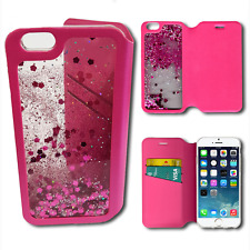 For iPhone 6 6S, Liquid Glitter Sparkly PINK Case with Card Slots - Wallet Style